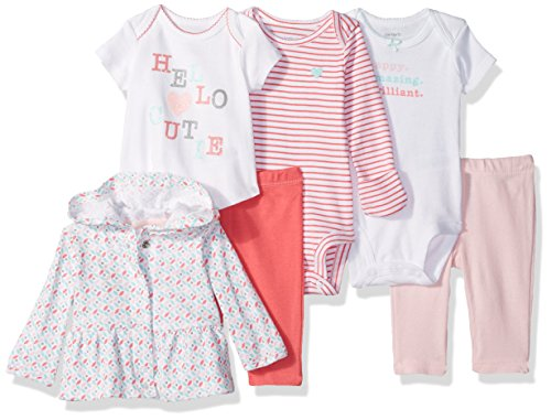 Carter's Girls' 6-Piece Jacket, Pant and Bodysuit Set, Pink Heart, 6 Months