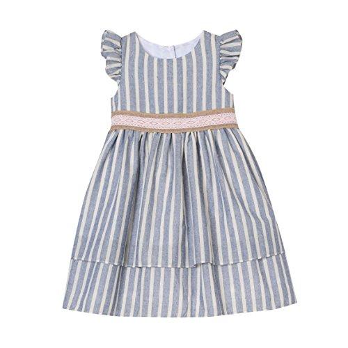 Laura Ashley London Girls Striped Dress Lace Trim, Blue/Ivory, 4 ()