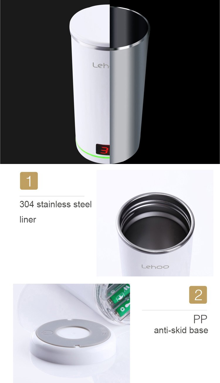 LIWUYOU Stainless Steel Steel Steel Magic Smart Touch Sensing Weiß Insulated Mugs Cup with Lid, Farbe Display Temperature, Auto Remind Drink Water Function, Love & Rose by LIWUYOU defaa4
