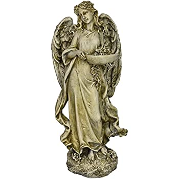 Roman Josephs Studio Inspirational Angel Bird Feeder Outdoor Garden Statue,  15.5 Inch