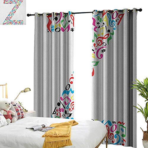 longbuyer Letter Z Drapes for Living Room Collection of Vibrant Musical Signs and Notes in Shape of Capital Z Alphabet Font W96 x L84,Suitable for Bedroom Living Room Study, etc.