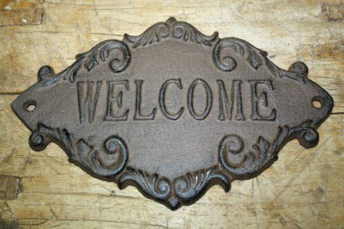 JumpingLight Cast Iron Antique Victorian Style Welcome Plaque Sign Rustic Ranch Wall Decor Cast Iron Decor for Vintage Industrial Home Accessory Decorative ()
