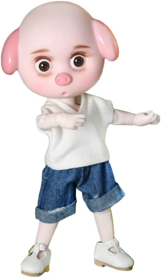 "BJD Doll Mini Lucky Pig 26 Joint Body 6/"" Toy with Outfit Shoes Makeup /& Gift Box"