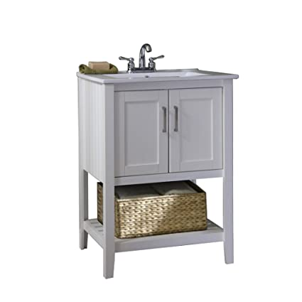 single sink bathroom vanity with top. Legion Furniture WLF6020 W BS 24 quot  Single Sink Bathroom Vanity with Basket and