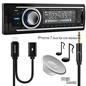 iPhone 8 / 7 Aux Cord for Car,UNOOE Aux Adapter Lightning to 3.5mm Jack Audio Aux Cable Splitter for Headphone and Charger for iPhone 8 Plus Car Home Stereo,Speakers,Beats Headphone,iPad(Black)