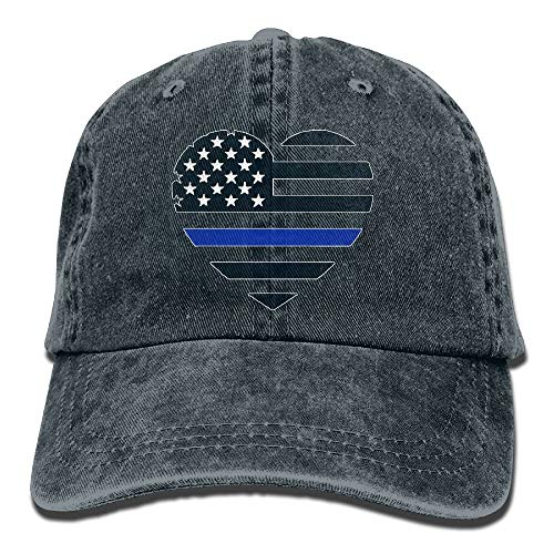 (Thin Blue Line USA Heart Decal Unisex Washed Twill Cotton Baseball Cap Vintage Adjustable Hat)