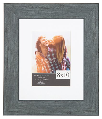 Gallery Solutions 8x10 Flat Distressed Blue Wash Wall Frame with White Mat For 5x7 (Distressed Blue Wash)