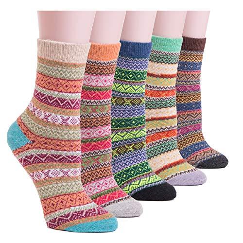 YOMORES Women Socks 5 Pack Vintage Style Cotton Knitting Wool Warm Winter Fall Crew Socks (C1) Stripe Multi One Size