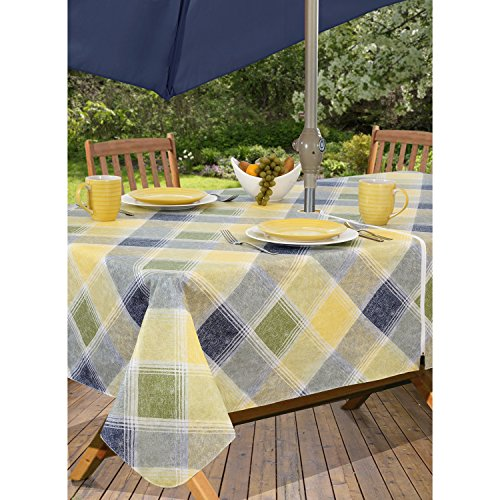 Harmony Plaid Flannel Backed Indoor Outdoor Vinyl Table Linens, 60-Inch by 84-Inch Oblong (Rectangle) with Umbrella Hole and Zipper, Blue