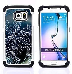 """Pulsar ( Cristal de la nieve del invierno del copo de hielo"""" ) Samsung Galaxy S6 / SM-G920 SM-G920 híbrida Heavy Duty Impact pesado deber de protección a los choques caso Carcasa de parachoques"""