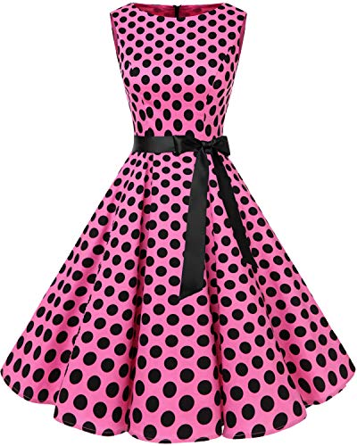 Bbonlinedress Women's 1950s Audrey Summer Vintage Rockabilly Swing Dress Pink Black BDot XS