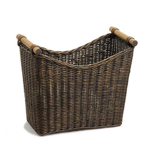 The Basket Lady Narrow Wicker Magazine Basket Large, Antique Walnut Brown