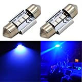 "Alla Lighting CANBUS Error Free 31mm (1.25"") Super Bright White High Power 3030 SMD Super Bright DE3175 DE3021 DE3022 3175 LED Bulbs for Interior Festoon Map Dome License Plate Light Lamps (Blue)"