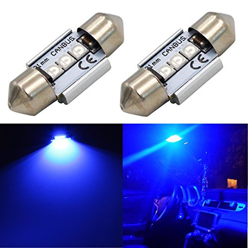 "Alla Lighting CANBUS Error Free 31mm (1.25"") Super Bright White High Power 3030 SMD Super Bright DE3175 DE3021 DE3022 3175 LED Bulbs for Interior Festoon Map Dome License Plate Light Lamps (Blue)"