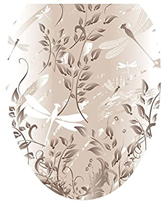 Toilet Tattoos, Toilet Seat Cover Decal, Fields of Taupe, Size Elongated