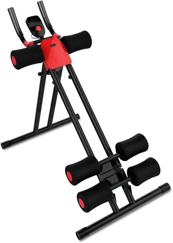 AB Programa Entrenador de Equipos de Gimnasia Abdominal Crunch AB Coaster Formadores Gimnasio en casa Altura Ajustable con Contador (Color : Black)