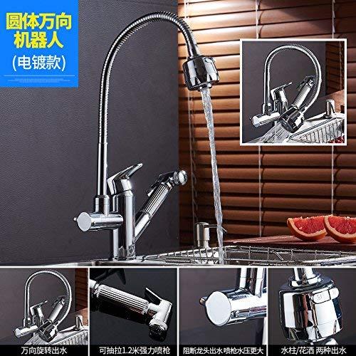 JingJingnet 洗面台の混合蛇口銅製の台所の流しの蛇口洗面台の回転式ヘッドのドローダウン蛇口洗面台 (Color : 6) B07S2P875Q 6