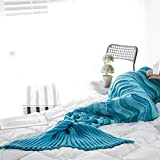 Sofa Blanket Mermaid Tail Blanket Bed Bedding Sleeping Bag (A Blue)