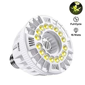 SANSI LED Full Cycle Grow Light, 15w Full Spectrum Ceramic LED Light Bulb, Hydroponics, Indoor Farming, Greenhouses