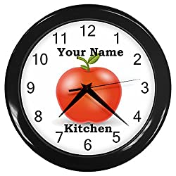 Personalized Red Apple Black Frame Kitchen Wall Clock