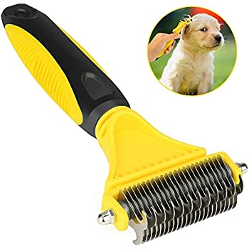 Airsspu Dematting Tool for Dogs, Dematting Comb for Cats, Dog Grooming Brush Tool, 2 Sided Steel Undercoat Rake for Dogs and Cats with Long or Short Hair