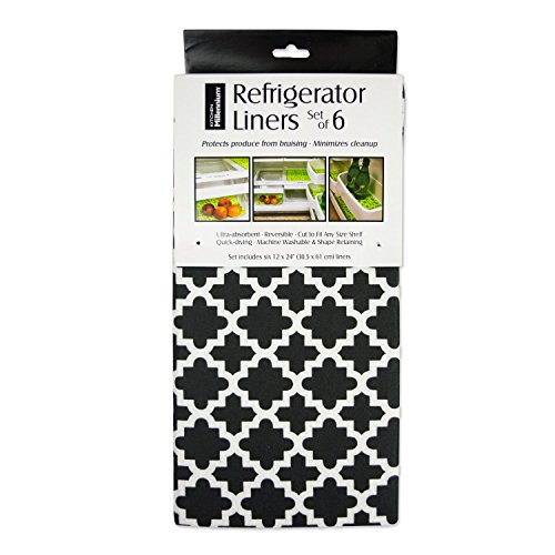DII Non Adhesive Cut to Fit Machine Washable Fridge Liner For Drawers, Bins, Trays, Protect Produce, Set of 6, 12 x 24 - Black Lattice by DII