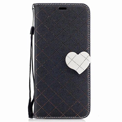 Yiizy Samsung Galaxy S8+ / S8 Plus Custodia Cover, Amare Design Sottile Flip Portafoglio PU Pelle Cuoio Copertura Shell Case Slot Schede Cavalletto Stile Libro Bumper Protettivo Borsa (Nero)