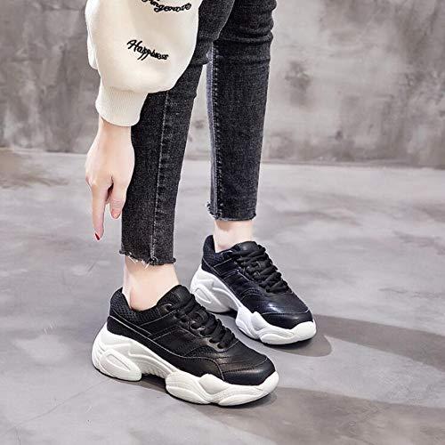 nsxiezi Mujer Gruesos Calzado Xl Negro Zapatos Blancos De Deportivo Primavera B4qx7xwAd