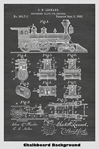 - Antique Train Locomotive Engine Poster Patent Print Art Poster: Choose From Multiple Size and Background Color Options