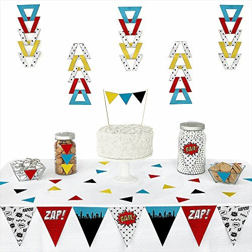[BAM! Superhero - Piece Triangle Baby Shower or Birthday Party Decoration Kit - 72 Pieces] (Superhero Comics Flag Banner Kit)