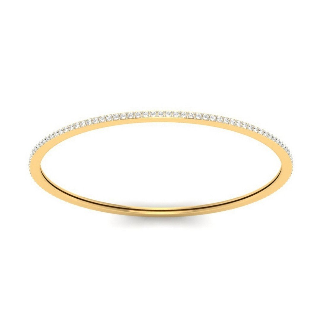 HallMarked 2.12 cttw Round-Cut-Diamond IJ| SI bangle-bracelets Size 9.75 inches 14K Yellow Gold