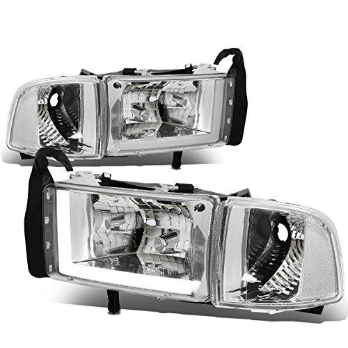 Dodge Ram Chrome Housing - For 94-01 Dodge Ram (Non-Sport Model) LED DRL Chrome Housing Clear Corner Headlights/Lamps - Pair