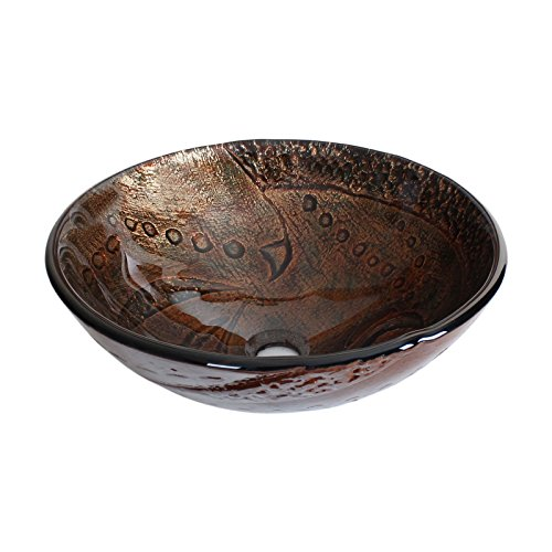 Hot Melted Rock Pattern Glass Bowl Vessel Bathroom Sink Drain Finish: Chrome ()