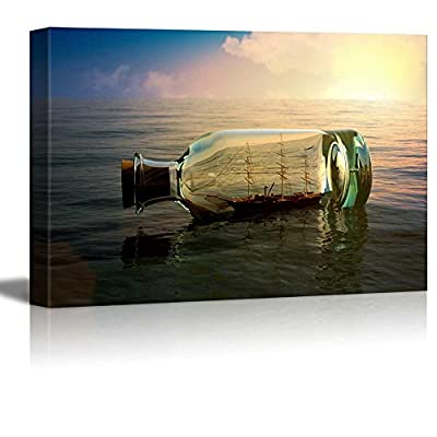 Delightful Creative Design, Ship in a Drifting Bottle at Sea Retro Style Wall Decor, Classic Artwork
