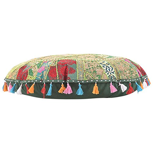 Bohemian Patchwork Round Floor Cushion Cover Patchwork Round Pouf,Ottaman Cover. Home Decorative Pouf Cover,Handmade Foot Stool Floor Cushion Cover Living Room Pouffe Cover Cotton 32''