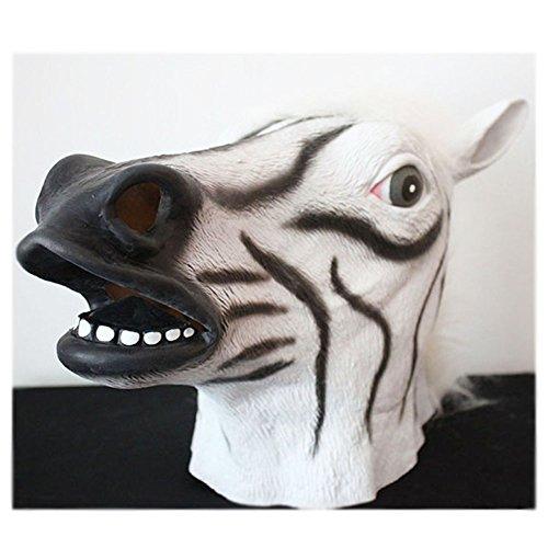 O-Toys Deluxe Latex Animal Head Mask Novelty Halloween Costume Party, Zebra