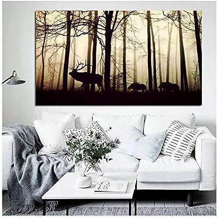 Cartel Lienzo Pintura Nórdica Paisaje Impresiones Arte Bosque Silueta Árbol Ciervos Cuadros De Pared para Sala De Estar Decoración del Hogar 40X60 Cm Sin Marco