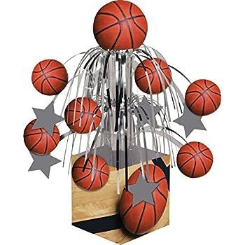 Creative Converting Sports Fanatic Basketball Centerpiece with Mini Cascade and Base, Orange