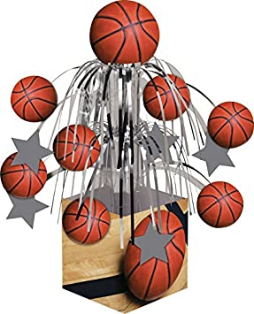 Orange 2-Pack Creative Converting Sports Fanatic Basketball Centerpiece with Mini Cascade and Base