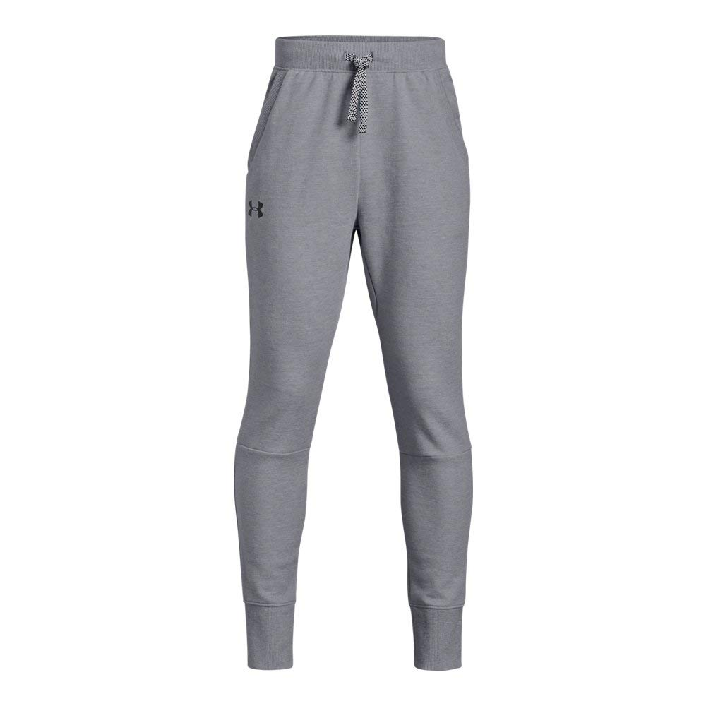 Under Armour Boys Double Knit Tapered Pants, Steel Light Heather (035)/Black, Youth Small by Under Armour