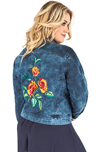 - Standards & Practices Plus Size Women's Acid Wash Floral Embroidery Jean Jacket Size 3X Blue