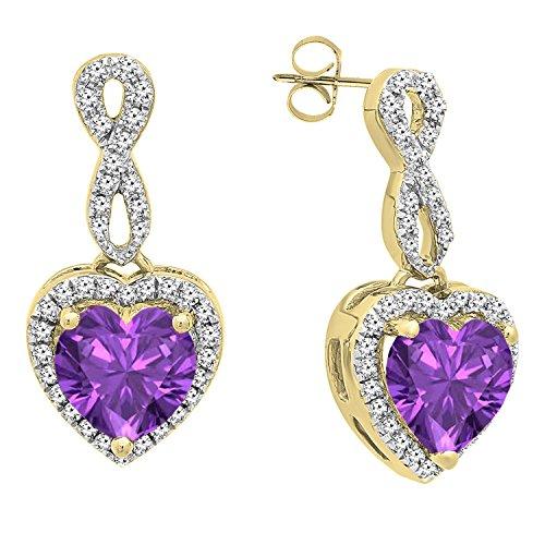 Dazzlingrock Collection 18K 6 MM Each Heart Amethyst & Round Diamond Ladies Swirl Dangling Drop Earrings, Yellow Gold