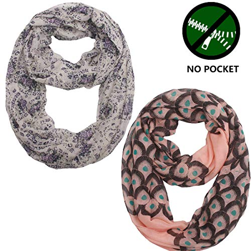 Women Thin Lightweight Infinity Scarf - New Fashion Design Printed Soft Scarfs Wraps Shawls For Spring Summer Ideal Gift, Light, Soft, Elegant