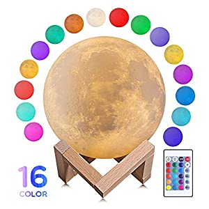 Moon Lamp Moon Night Light 5.9 inch 3D Moon Lamp with Stand 16 Colors Warm and Cool Lighting Remote and Touch Control Moon Light for Kids Girls Lover Birthday Gifts (16Colors-5.9inch)