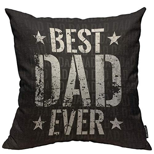 Mugod Throw Pillow Cover Best Dad Ever Freight Home Decorative Square Pillow Case for Bedroom Living Room Cushion Cover 18x18 (Best Dad Pillows)