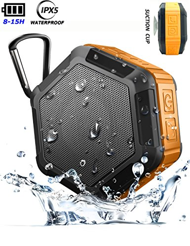 Shower Speaker Mini Wireless Bluetooth,Waterproof 15Hour Playtime Rechargeable, 5W Enhanced Bass Portable,True Stereo Sound/TWS 2 Speakers Pair,Support TF Card,for iPhone Android Outdoor (Suction Cup)