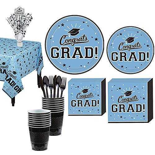 Party City Congrats Grad Light Blue 2019 Graduation Decorations and Supplies for 18 Guests with Plates, Napkins and More -