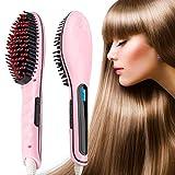 Hair Straightener,Hair Straightening Brush,Bienna [Ceramic] Professional Dual Voltage Silky Straight Detangling Styles Electric Hair Comb Anion Hair Massager [450℉/230℃ Max ] [Auto Shut Off ]