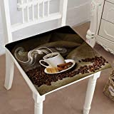 Mikihome Chair Pads Classic Design Depositphotos stockcoffee Beans and White Cup() Cotton Canvas Futon 30''x30''x2pcs