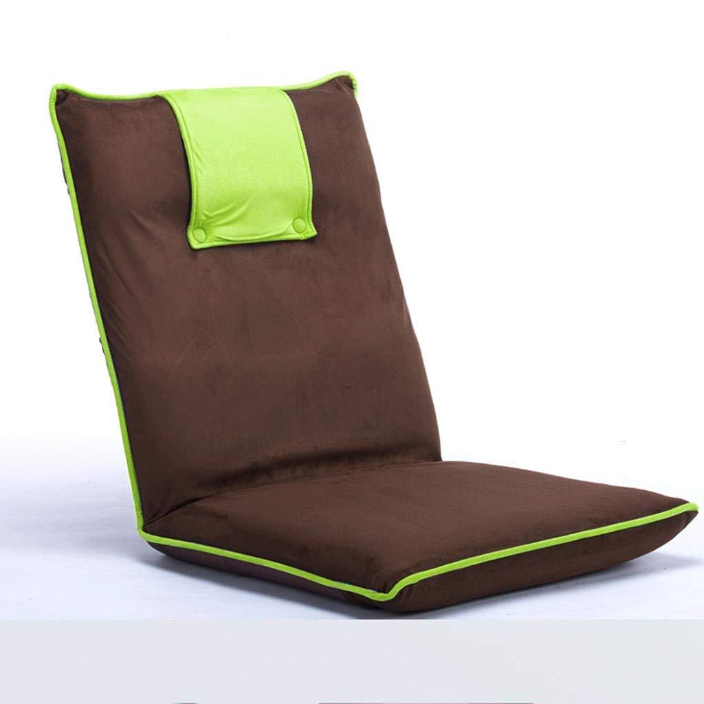 Green High-Back Chair, Lazy Small Sofa Japanese-Style Folding Single Floor Chair Bed Armchair Creative Bay Window seat (color   bluee)